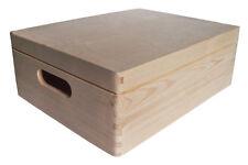 * Pine wood storage box with lid 35x25x14.5cm DD173 A4 paper size chest (X)