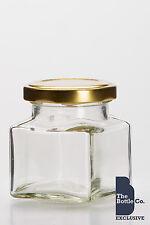 240 X 130ml (4oz approx) SQUARE JAM  PRESERVE PICKLE GLASS FOOD JAR