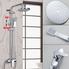 Rainfall Shower Brushed Chrome Adjustable Shower Head Mixer Tap W/ Hand Unit