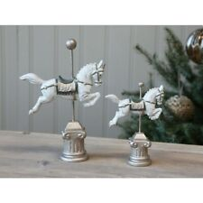 Chic Antique Schaukelpferd Pferd Karusselpferd Christmas weiß Shabby Vintage
