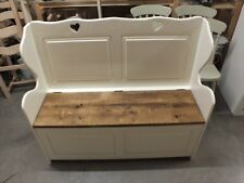 4' PAINTED HEARTS MONKS BENCH F&B WHITE TIE SETTLE PEW SEAT STORAGE HAND MADE