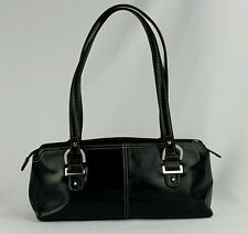 Relic Black Leather Satchel Handbag 2 Handle Chrome Hardware Medium Shoulde