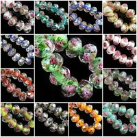 10pcs Rondelle Faceted Glass Rose Flower Inside Lampwork Beads Loose Spacer 8mm