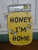 "GALLERIE II-BEE COLLECTION-HONEY MASON JAR WALL ART-MEASURES 8""X13.5""- NEW-2020"