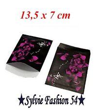 50 POCHETTE SACHET PAPIER CADEAUX BIJOU EMBALLAGE FLEUR PAPILLON 13,5 cm x 7 cm.