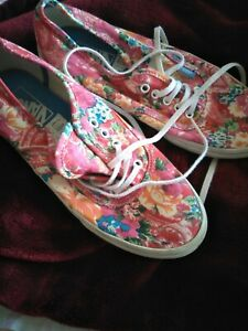 Pink with Floral Pattern Vans Sneaker Training Shoes. Size UK 5.