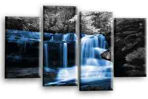 """Waterfall Forest Canvas Picture Blue Grey Black White Trees Wall Art 4Split 44"""""""