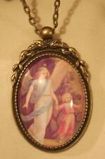 Lovely Leaf Top Guardian Angel Shepherding Child Cameo Brasstn Pendant Necklace