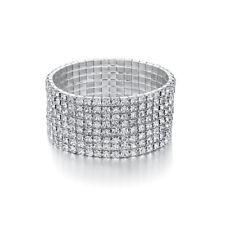40ctw 8 Rows Round Cubic Zirconia Bracelet