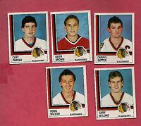 5 X RARE 1987  PANINI CHICAGO HAWKS  STICKER CARD