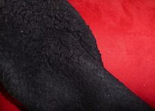 Suede Backed Sherpa Fleece Sheepskin Fabric Material - BLACK RED REMNANT LOT