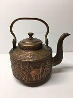 Antique Copper Tea Kettle Multifaceted Animal Design