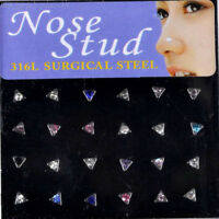 60 X Tiny Surgical Steel Nose Studs Ring Mixed Rhinestone Body Piercing Jewelry