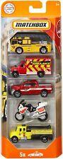 Mattel Matchbox FIRE & RESCUE VEHICLES Die-Cast Emergency Cars (5 Vehicle Pack)