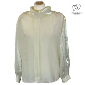Lady's Collection Women Blouse Cream Satin Pullover Shirt Size XL/XXL