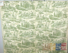 Brunschwig Fils Chinoiserie Toile Fabric Sample Le Kakatoes Cotton Moss 48 x 60""