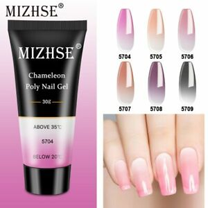 MIZHSE 30ml Temperature Poly Nail Gel Color Change Crystal Extension Gel Hybrid