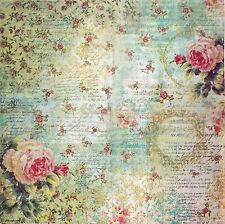Rice Paper for Decoupage Decopatch Scrapbook Craft Sheet Vintage Roses & Writing