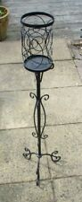 Wrought Iron Black Floor Free Standing Candle Holder Tall - Scroll Design
