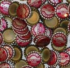 Soda pop bottle caps Lot of 25 SUN RISE BLACK CHERRY plastic lined new old stock