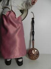 Rare Bassinoire 29cm cuivre et bois noirçit Napoleon III pour poupées XIXe
