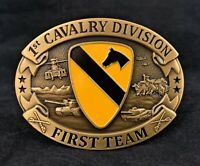 🌟US Army 1st Cavalry Division CSIB, First Team Insignia, Oval Brass Belt Buckle
