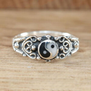 Unique 925 Silver Black and white Yin and Yang Ring Women Yoga Jewelry Size 5-10