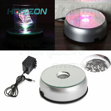 7LED RGB 3D Crystal Glass Lamp Pedestal Coaster Turntable with AC Adapter