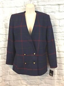 NWT Vintage Le Suit Women's Navy Window Pane Check Double Breasted Blazer Sz 10