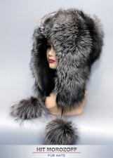 Luxury SAGA SILVER FOX Fur Hat Eskimo Chapka Pom-Poms Pelzmütze Fellmütze Fuchs