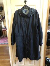 LKNU Black Raincoat Coat Jacket Land's End XL 18 20