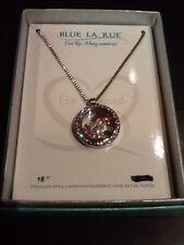 "New Blue La Rue Stainless Steel Round ""Faith"" Charm Locket -W/Swarovski Elements"