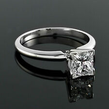 Solitaire .71 Carat SI2/G Princess Cut Real Diamond Engagement Ring White Gold