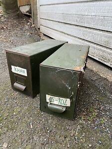 Mid Century Vintage Industrial Office Storage - Army Veteran Military Green -