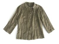 Women's BOTTEGA By ELISA CAVALETTI Flax Linen Blouse Shirt Made In Italy Size M