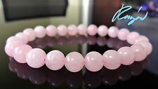 "Genuine Rose Quartz bead bracelet for MEN or WOMEN (Stretch) 8mm - 7.5"" inch AAA"