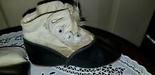 ANTIQUE BABY sz 2 TASSELED LEATHER BUTTON UP BLACK & WHITE SHOES glass buttons