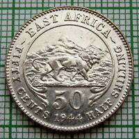 EAST AFRICA GEORGE VI 1944 SA 50 CENTS, SILVER UNC