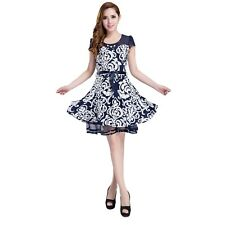 Petite Womens Cap Sleeve Porcelain Floral and Chiffon Layered Dress UK Size 10