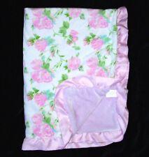 Laura Ashley Pink Green Rose Flower Baby Blanket Satin Ruffle Trim Edge Security