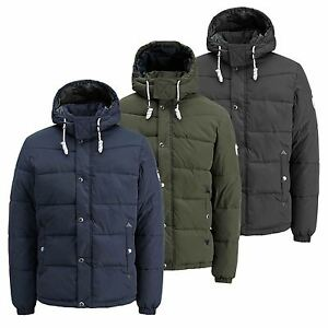 Mens Jacket JACK & JONES Figure Hooded Zip Up Padded Bomber Coat