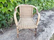 Ancien Fauteuil d'enfant  Osier & Rotin Structure en Cerisier Vintage Années 30