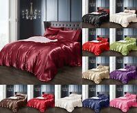 Satin Silk Single Double King Duvet Quilt Pillow Cover Fitted Sheet Set 4/6 pcs