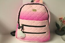 Betsey Johnson Backpack Large Canvas Quilted Travel Diaper Bag Pink Hombre NWT