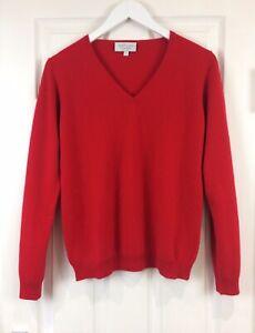 100% Cashmere Jumper V Neck Red  Vast Land Soft Warm Cosy Present Size 12