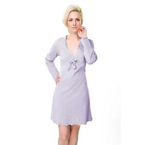 RAIKOU Damen A-Linie Kleid SommerKleid V-Ausschnitt Langarm Minikleid Hemdkleid