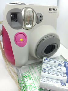 Fujifilm Instax Mini 7s Instant Film Camera - White/Pink - with new 10 film pack