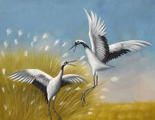 Original oil painting - CRANE BIRDS in LONG GRASSES Christian Petit - 42x32 cm