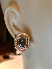 David Yurman Classic Cable Hematite Earrings Sterling Silver  14k Gold, Pouch