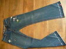 edc by esprit - coole Five Jeans mit Stickereien im Goa Boho Look - Gr. 34 / 30